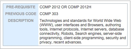 COMP4021 - Course Description